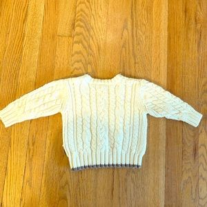 Old Navy cable knit white and gray baby sweater